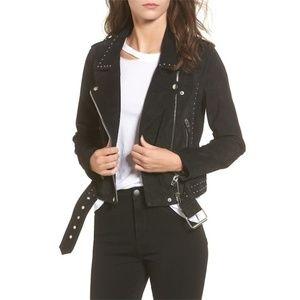 NWT BLANKNYC Studded Suede Moto Jacket Onyx